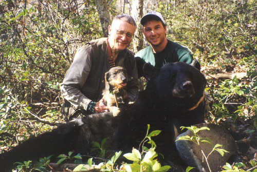 John Jeanneney is on the left and bowhunter Anthony Lamonica is on the right. The tracking dog is wirehaired dachshund Sabina. The male bear weighed about 190 kilos before it was dressed.